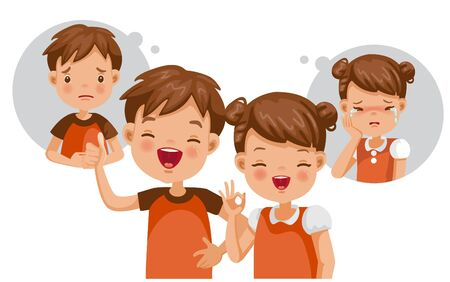 Mental child concept. Feelings, emotions, and gestures in the opposite state. Mental health problems, normal conditions, stress and relaxation conditions, suffering and happiness. Feeling inside.