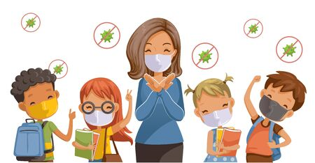 Back to school for new normal concept. Preventing disease, Covid-19. Children wearing sanitary masks. Gesture of teachers, students and friends at the school. Vector