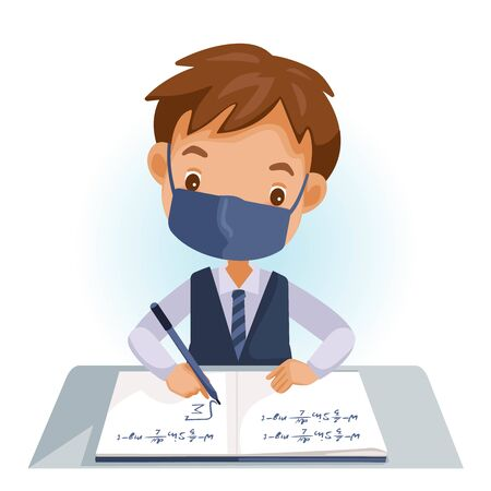 Boy in uniforms wearing a mask are writing. Students studying in school classes or kids doing homework, maths at home. Cartoon cute little boy in red shirt Siting on the desk. New nomal for hygiene.