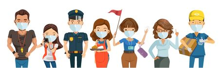 People mask vocation of different professions. Trainer, teacher, housewife, guide, police, businessman and gardener. Character set team work . New Normal concept. Vector isolated on white background.