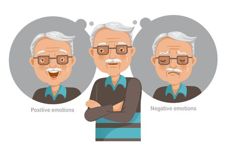 Mental health concept vector for elderly man.Feelings, emotions, gestures in the opposite state. Mental health problems, normal conditions, stress and relaxation conditions, suffering and happiness.