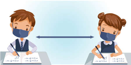 Boys and Girl are writing, kids doing homework, maths at home. Cartoon cute little boy in red shirt Siting on the desk. The concept of learning age. Vector illustrations isolated Ilustración de vector