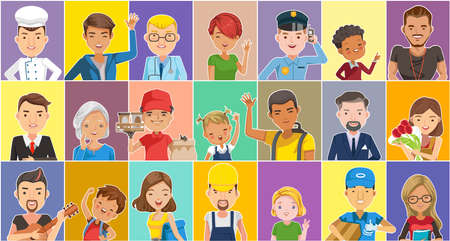 People many set. Person different nationalities characters. Different various ethnicities. Children, elderly and adults. Many careers. Female and male. Fashion hairstyles. poses and emotions.