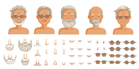 Elderly man face set. Elderly man head character creation. Eye, mouth, nose, eyebrows, mustache, beard, and hairstyles. The old man's smiling face. vector Иллюстрация