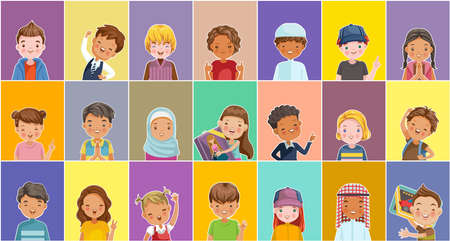 Child vector set of kids. Children many characters. Cute cartoon different and various ethnicities. Fashion and hairstyles of children. Kid poses and emotions. Different nationalities.