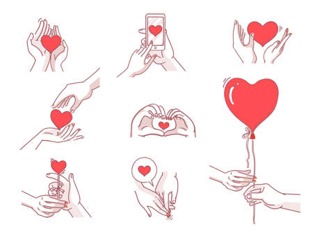 Love body language concept. doodles on different types red heart shape. Interlocking of hands between pairs. Couples set. Vector illustration hand drawn style.