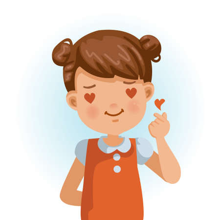 little girl  is doing a small heart-shaped hand gesture that shows love feelings. Children in red shirt with red love with shyness, heart-shaped eyes, character, meaning love, easy and to the point.