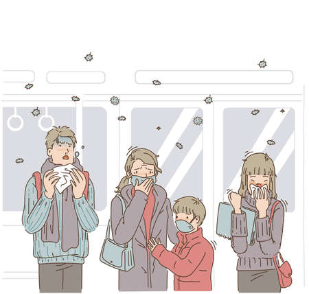 People on public trains. Men are sneezing. A woman has a cold. Mother and son wear protective masks, feeling worried about communicable diseases. Cartoon vector illustration. Hand drawing Ilustração