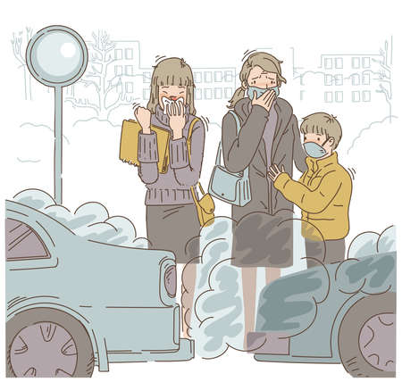 Pollution car Women wear protective masks.People in protective mask on industrial background with factories and smog.In the outdoor. Cartoon vector illustration. Hand drawing.