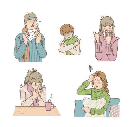 People who are sick in the winter. Men coughing and sneezing, boys chilling, women headache because of the flu, young girls blow the nose. hand drawn vector design illustrations.