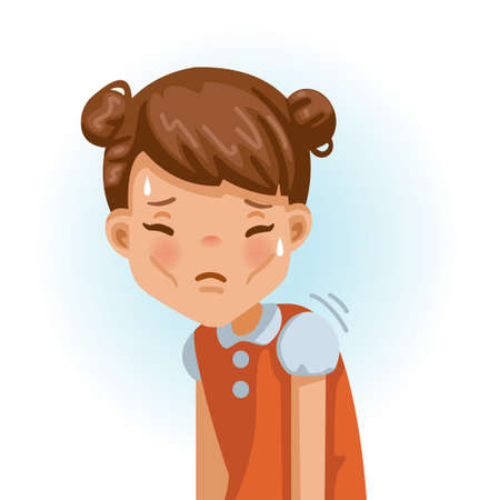 Weak little girl. Slim, fatigue, discomfort and fatigue. Sad girl.The face expresses regret. Child lament standing. Looking straight at you. Vector cartoons and illustrations isolated on white.