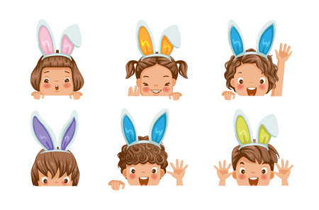 Little girls with bunny ears. Gradually emerged step with copy space. Waiting for the easter rabbit. Laughing Children with bunny ears, Suspenders hunting for easter eggs. Different and many character