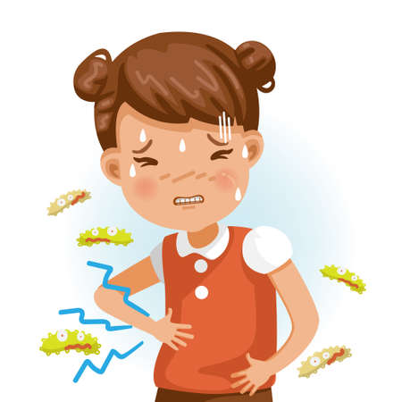 Stomachache. Rash fever. German measles. A sick boy with fever and red rash. Gel reduces heat. Feeling bad when symptoms. Cartoons of rubella virus. Cause of infection.