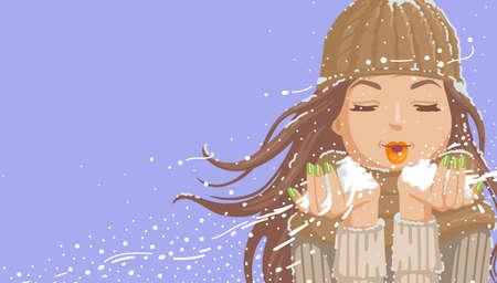 Beautiful girl blowing snow. Cartoon illustration