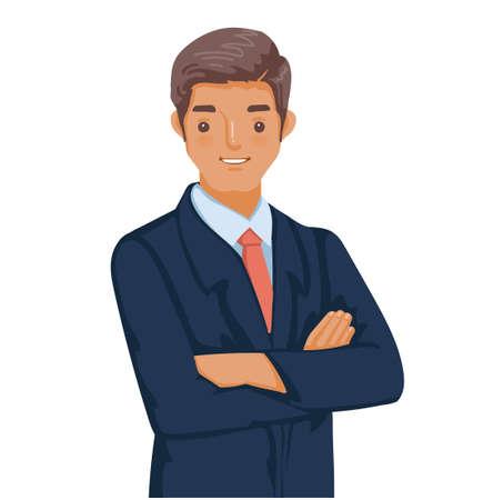 Businessman in a dark blue suit. Folded posture. Handsome men are smiling. Vettoriali