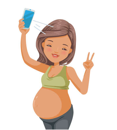 Pregnant woman selfie. happy young pregnant woman taking selfie with smartphone. smiling with happy face winking at the camera doing victory sign. Vector illustration isolated on a white background.