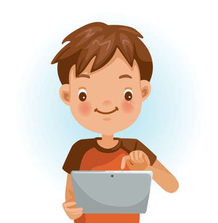 Boy use a tablet. Children are using a tablet. Technology concepts for education. Cartoon vector illustration isolated on a white background.