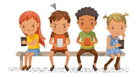 Girls and boys holding phone. Spend too much time with mobile phones. Stress, depressed, aggressive. Effects on concentration, emotions for children. Social Bully problems. Cartoon vector illustration Vektoros illusztráció