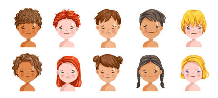 Boys and girls set emotions, feelings of uncomfortable, tension, sullen. Face of an angry child. Different nationalities are different. Variety of children. Female and male heads. Picture of students.