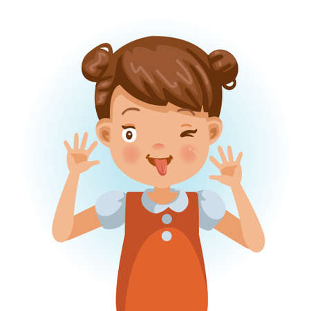Cheeky little girl smiling and sticking his fingers in his ears and pulling a funny face. Cartoon character vector illustration isolated on white background.