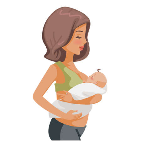 Baby breastfeeding Baby drinking milk. Mom is feeding baby food. Vector illustration isolated on a white.