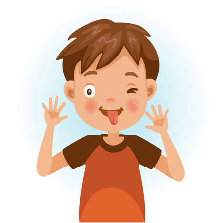 Cheeky boy have fun. Little boy portrait of a happy little boy smiling on white background. Emotions and gestures of the cartoon character of the child. Vector illustrations isolated on white. Illustration