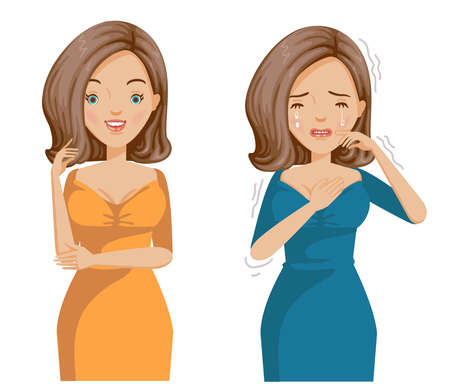 Women mood contrast. Smiling media, positive emotions and smiling media negative emotions. Sullen, smiling, happiness and suffering.