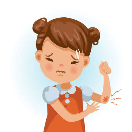 Little girl at elbow. Feel pain in the wound. Cartoon character vector illustration isolated on white background.