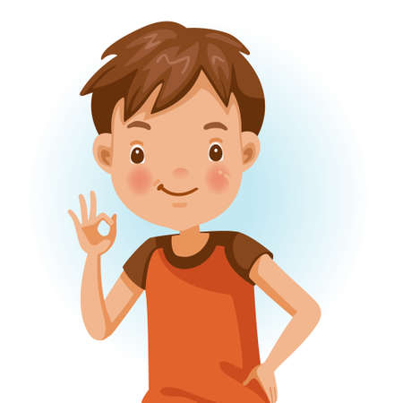 Boy ok. Positive emotions, smiling. Cartoon character vector illustration isolated on white background.