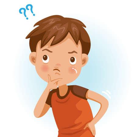 Boy wonder. Question mark. The handle on the chin looks upward. Cartoon character vector illustration isolated on white background. Vektorgrafik