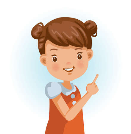 Little girl thumbs pointing something. Positive emotions, smiling. Cartoon character vector illustration isolated on white background.