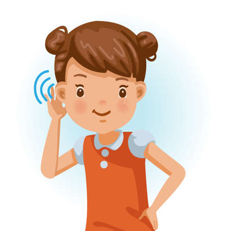 Little girl listening.  Positive emotions, smiling. Cartoon character vector illustration isolated on white background.