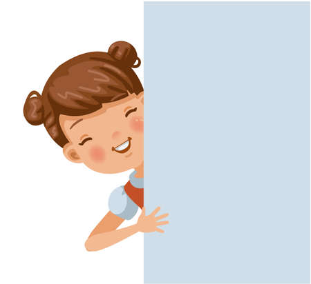 Smiling girl out of the back of the wall. Vector illustration isolated white background. 矢量图像
