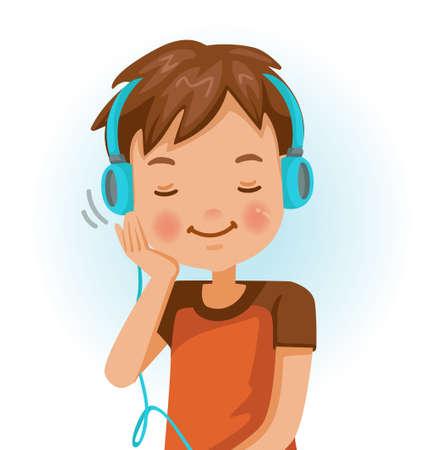 Little boy earplugs. Positive emotions, smiling. Cartoon character vector illustration isolated on white background. Illustration
