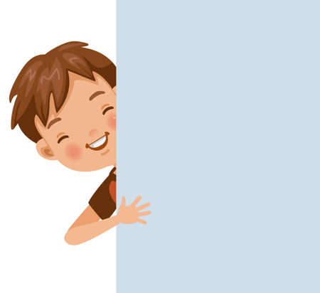 Smiling boy out of the back of the wall. Vector illustration isolated white background.