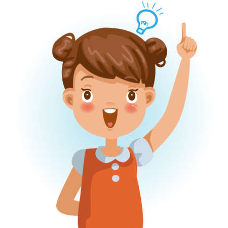 Little girl  success. Figured out, clever kids thumbs pointing something. Positive emotions, smiling. Cartoon character vector illustration isolated on white background.