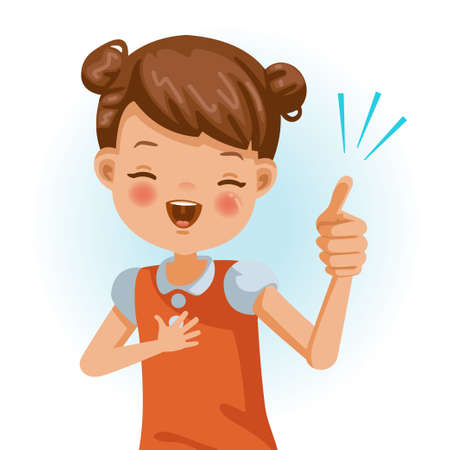 Little girl thumbs up. Figured out. Positive emotions, Laugh. Cartoon character vector illustration isolated on white background. 矢量图像