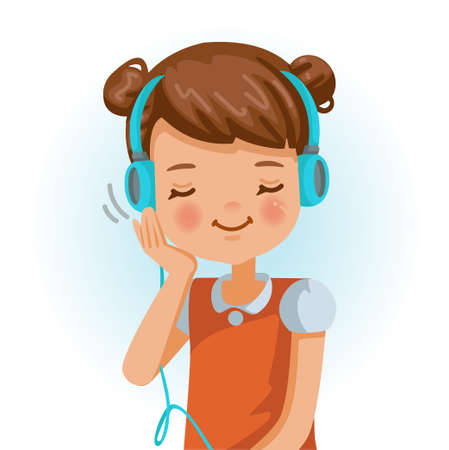 Little girl use headphon. Positive emotions, smiling. Cartoon character vector illustration isolated on white background.