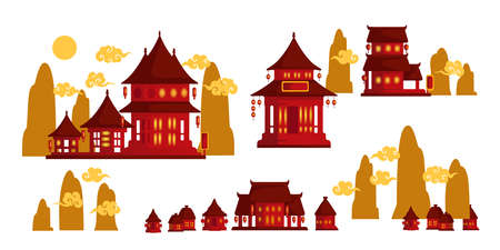 Chinese house. Building of chinese style. Creative design for night. Adorn the place with paper lanterns. Vector illustration isolated on a white background.