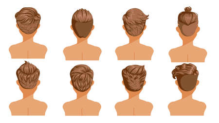 Men hair rear view. Set of men cartoon hairstyles. Collection of fashionable stylish types.Vector illustration isolated on white background.