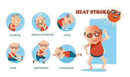 Heat stroke signs and symptoms. info graphics of risk in a circle. cartoon vector illustration Isolated on white background. Ilustración de vector