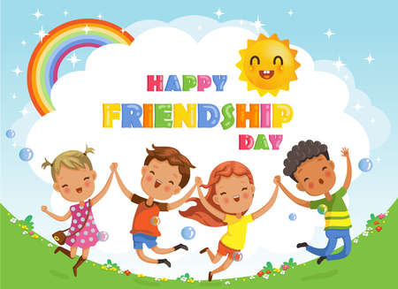 Friendship day. kids are Jumping and laughing, together happily. Boys and girls celebration. Ilustração