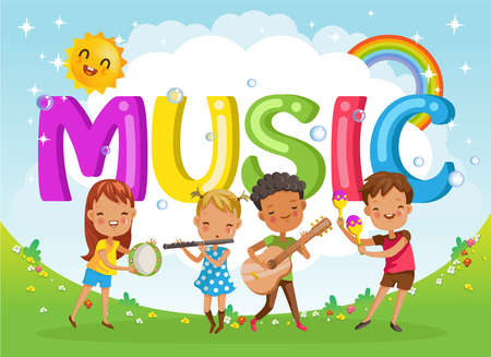 Kids with friends and music letters. Design of figures and children's cartoon characters.