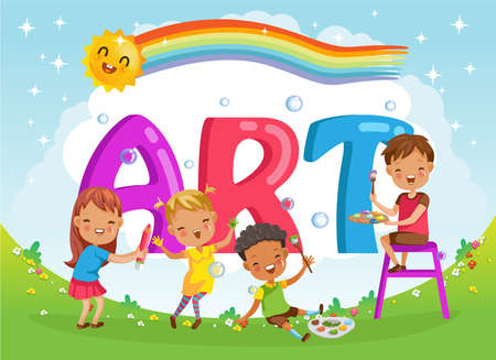 children with friends and art letters. Design of figures and children's cartoon characters 矢量图像