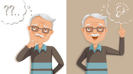 elderly thinking. Emotions and gestures. Think not, do not understand, Think out. Concept learning of brain and alzheimer's disease of elderly. Cartoon illustrations vector. The contradictory emotions Vektoros illusztráció