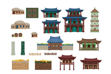Chinese house. Building of chinese style. Creative design for day. Adorn the place with paper lanterns. Vector illustration isolated on a white background.