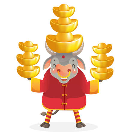 Cow personality. Red cheongsam dress. Bull zodiac symbol of the year 2021. Chinese New Year character design concept. Year of the ox. gestures and smiling. Cute cartoon style. Cow holding gold.
