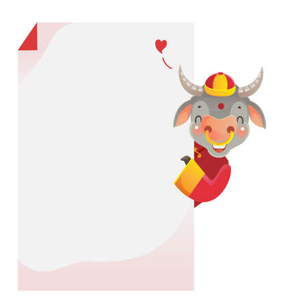 Cow personality. Holding a horizontal rectangle. Red cheongsam dress. Bull zodiac symbol of the year 2021. Chinese New Year character design concept. Year of the ox. gestures and smiling. Cute cartoon