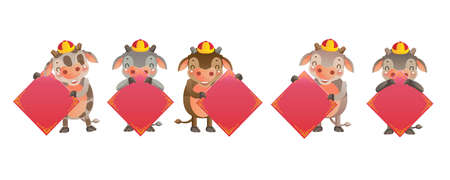 Cow and Calf personality. Chinese style. Red cheongsam dress. Bull zodiac symbol of the year 2021. Year of the ox. gestures and smiling. Chinese Translation: Without Barriers Cow holding gold.