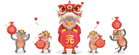 Cow personality. Cow 2021 holding and jumping. Red cheongsam dress. Bull zodiac symbol of the year 2021. Chinese New Year character design concept. Year of the ox. gestures and smiling.